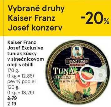 Kaiser Franz Josef Exclusive tuniak kúsky v slnečnicovom oleji s chilli, 170 g