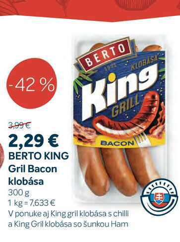 BERTO KING Gril Bacon klobása 300 g