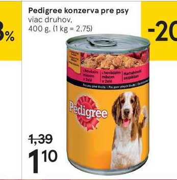 Pedigree konzerva pre psy, 400 g