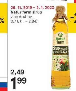 Natur farm sirup, 0,7 l