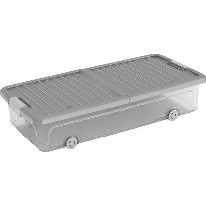 Úložný box W L plochý s vekom a 4 kolieskami sivý