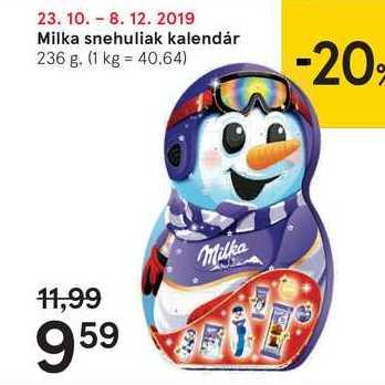 Milka snehuliak kalendár, 236 g