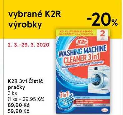 K2R 3v1 Čistič pračky, 2 ks