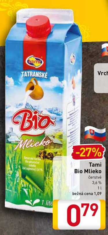 Tami Bio Mlieko čerstvé 1 l
