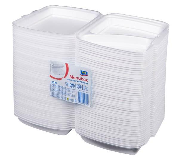 Menubox/obal na jedlo 2-dielny ARO 50ks