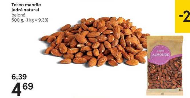 Tesco mandle jadrá natural, 500 g