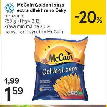 McCain Golden Iongs extra dlhé hranolčeky, 750 g