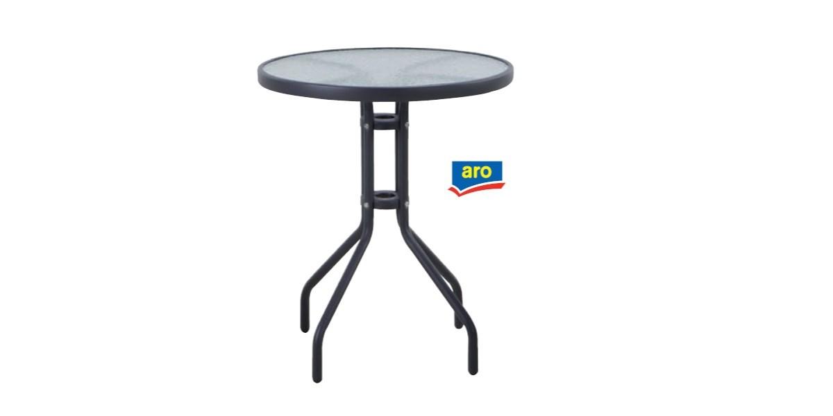 Stôl Bistro kov,sklo 60x70cm ARO 1ks