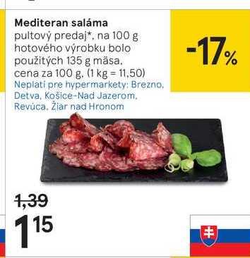 Mediteran saláma, 100 g