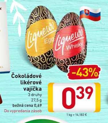 Čokoládové likérové vajíčka 27,5 g