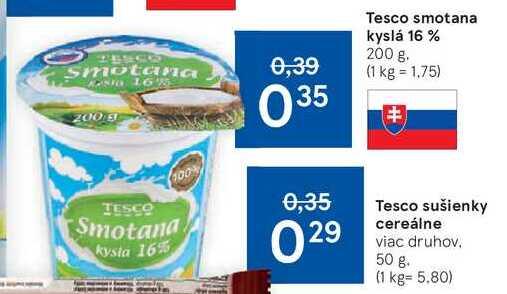 Tesco smotana kyslá 16 %, 200 g