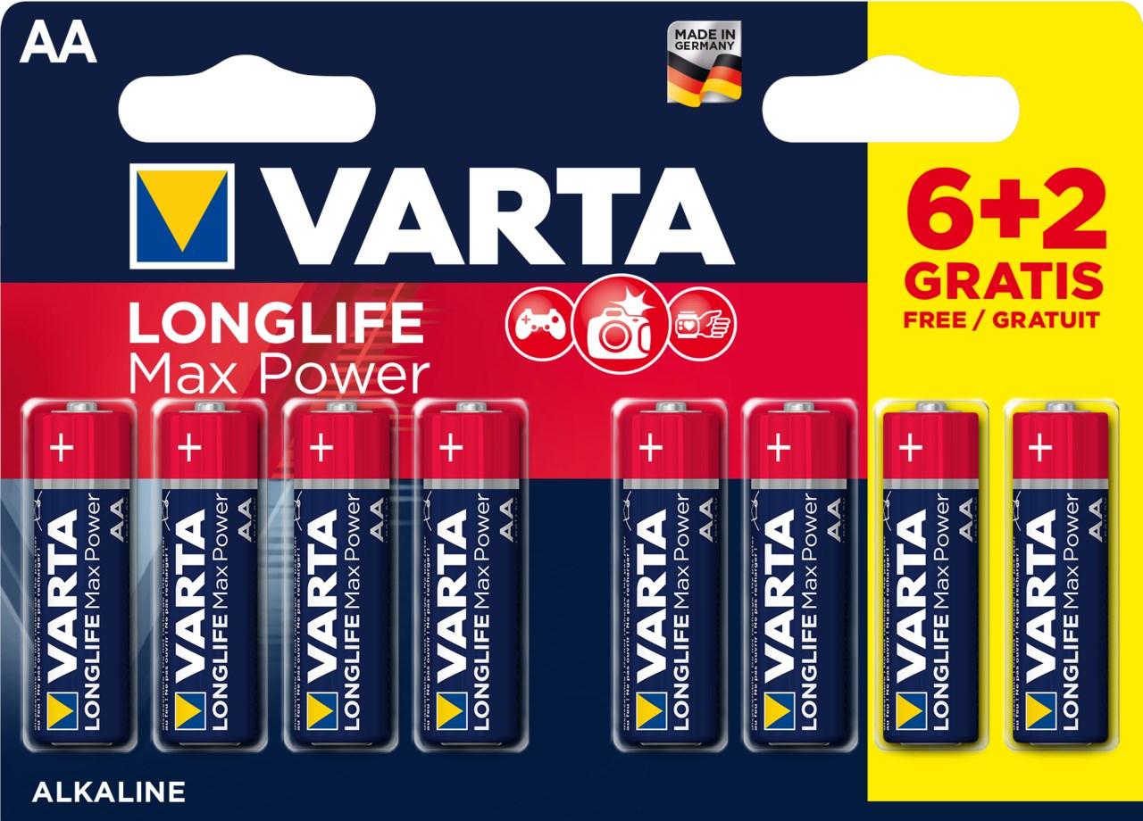 Batérie Varta Longlife Max Power AA 6+2 ks