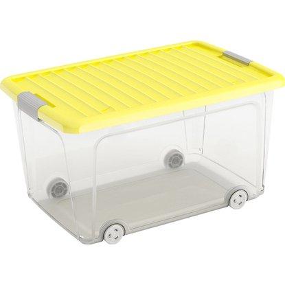 Úložný box W L vysoký s vekom a 4 kolieskami žltý