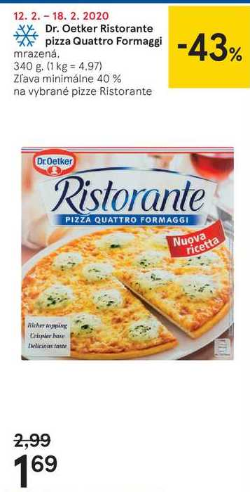 Dr. Oetker Ristorante pizza Quattro Formaggi, 340 g
