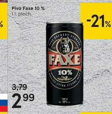 Pivo Faxe 10 %, 1 l
