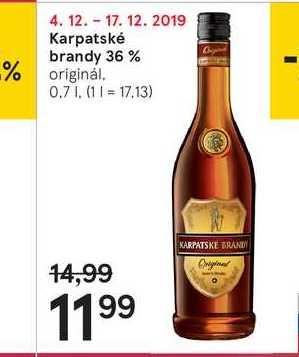 Karpatské brandy 36 %, 0,7 l
