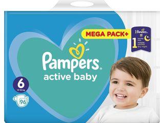 Pampers active baby mega pack+ detské plienky 1x96 ks