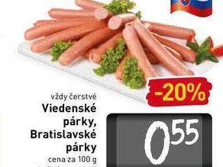 Viedenské párky, Bratislavské párky  100 g