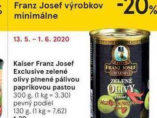 Kaiser Franz Josef Exclusive zelené olivy plnené pálivou pastou, 300 g