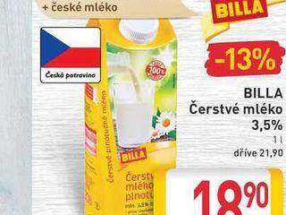 obrázek BILLA Čerstvé mléko 3,5% 1l