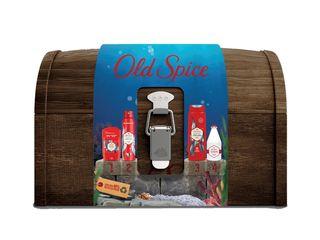 Old Spice Deep Sea sprchový gél + deodorant + tuhý deo.+ mlieko po hol.+ drevený box
