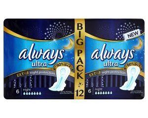 obrázek Always Ultra Extra night protection hygienické vložky 12 ks