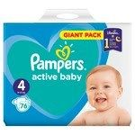 Pampers active baby S4 giant pack detské plienky 1x76 ks