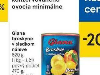 Giana broskyne v sladkom náleve, 820 g