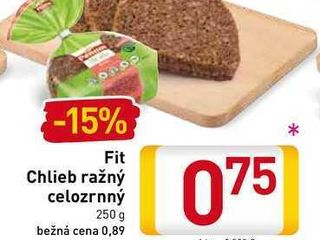 Fit Chlieb ražný celozrnný 250 g
