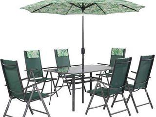 Zostava záhradného nábytku Rio 8-dielna palmová zelená